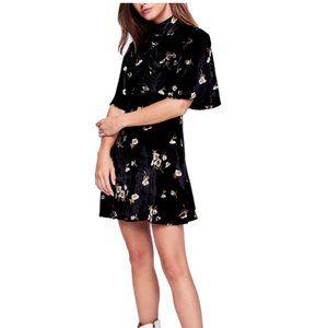 FREE PEOPLE Be My Baby Velvet Dress Black Floral